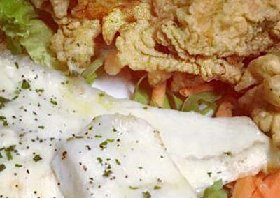 filetto rompo con fiori di zucca fritti